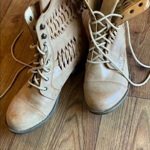 American Rag Shoes - Weaved braided combat style boots.